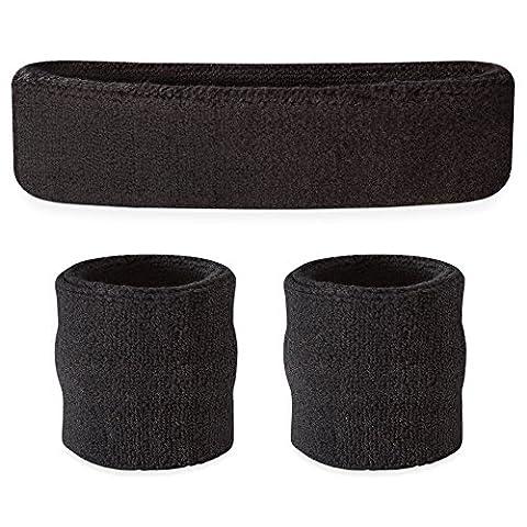 Suddora Headband / Wristband Set - Sports Sweatbands For Head And Wrist Black