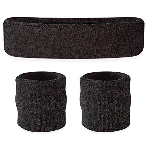 Suddora Schweißband-Set, Stirnband und Armbänder, für den Sport - schwarz (Stirnband Stirnband Schwarz,)