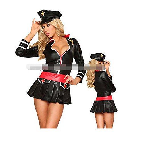 chwarze weibliche Matrosenanzug Stewardess Uniformen Diskothek Leistungskleidung Polizistin ()