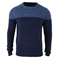 TruClothing.com Mens Round Neck Knitted Two Tone Blue Navy Jumper Top Regular Fit - Navy L