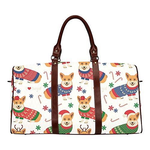 Reise-Seesack Niedlicher Corgi-Hund wirft mit Herz-Stern-Knochen-wasserdichter Weekender-Tasche auf Übernacht-Tragetasche-Handtasche-Frauen-Damen-Einkaufstasche mit Mikrofaser-Leder-Gepäcktasche