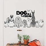 """Wallpark Dibujos animados Negro Perro Familia Amor Tema """"DOG IS A FRIEND"""" Desmontable Pegatinas de Pared Etiqueta de la Pared, Bebé Niños Hogar Infantiles Dormitorio Vivero DIY Decorativas Murales"""