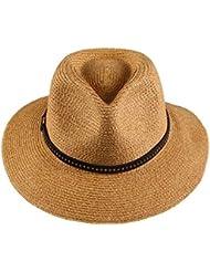 Ocio Mujer cono plano de ala ancha marquesinas resort de playa sol Protección solar sombrero de paja, Jazz Café