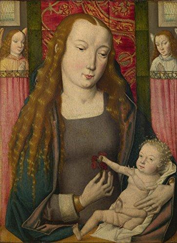 Das Museum Outlet-drückernut der Master of the Saint Ursula-Legende (Brügge)-Die Jungfrau und Kind mit zwei Engel-Leinwand Print Online kaufen (61x 81,3cm)