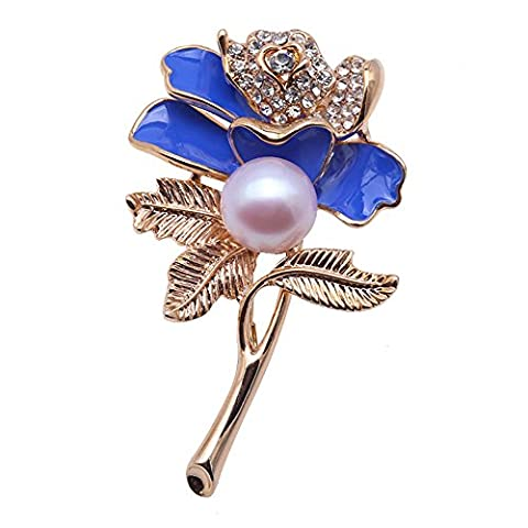 JYX Charming Blue Rose Freshwater Brooches Pins Bouquet Wedding