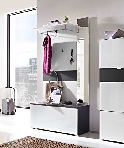 lifestyle4living Garderoben-Set. Garderobe, Flur-Garderobe, Diele, Schuhschrank, Garderobenschrank, Paneel, Schrank, Hutablage