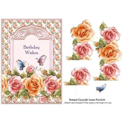 ROSES-Biglietto di auguri di compleanno per DECOUPAGE & by Susan Murdoch anteriore