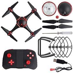 Comomingo S7 LED Drone de Vision Nocturne rc avec 720p caméra WiFi hélicoptère quadrioptère (Noir)