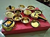 #6: 12 pieces vintage miniature brass metal Cooking Set kids Cooking Pretend Play Set with Pressure cooker bowl plate Masala dibbi & much more Perfect gift collectible décor Metal toys