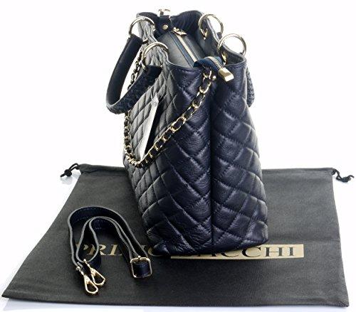 Borsa di cuoio italiano Design classico diamante forma borsa tracolla imbottita, con catena in metallo e cuoio, maniglie / tracolla include una custodia protettiva marca Grande Marina