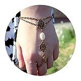 AmDxD Ring Armband Damen Blume Hohl Weiß Oval Stein Vergoldet ?ahmeran Armband Ring Handkette