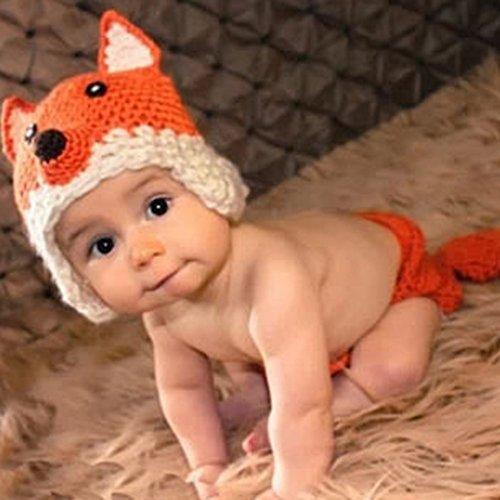 Imagen de smarstar  disfraces trajes apoyo de fotografía ropa de fotos para bebés niños niñas de punto de ganchillo formado de animales lindo 2 pcs pamtalones cortos con cola  zorro  naranja alternativa