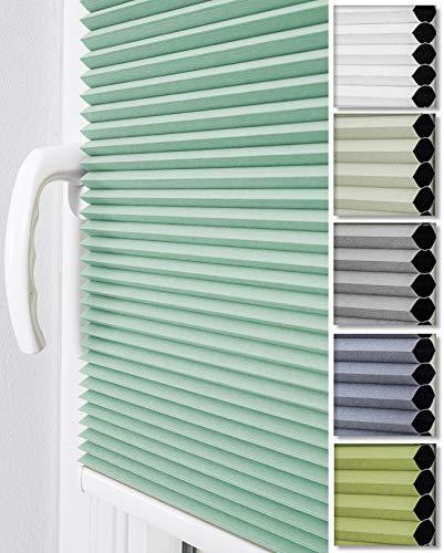 2230 Mint (Home-Vision Doppelplissee Wabenplissee ohne Bohren mit Klemmträger / -fix (Weiß-Mint, B55cm x H200cm) Zweifarbig Blickdicht Sonnenschutz Jalousie für Fenster & Tür)