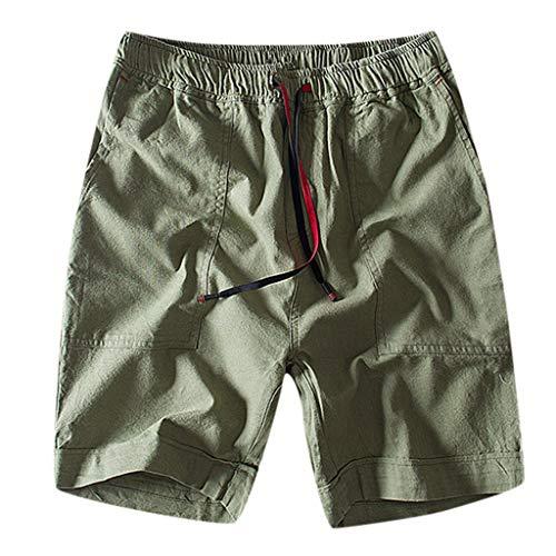 GreatestPAK Herren Baumwolle Leinen Shorts Slim Fit Straight Pants Freizeit Taschen Kurze Hosen Overalls,Grün,EU:XS(Tag:M) - Bench Straight Top