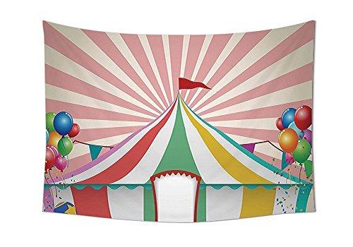 iPrint Zirkus, Set an der Wand Old Style Vintage Circus Zelt mit Baloons Carnival Celebration Tiere (Kunst Schlafzimmer Wohnzimmer Dorm, mehrfarbig, Textil, multi, 80W By 59L Inch