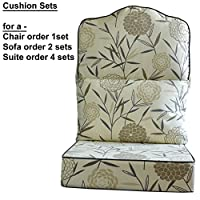 Gilda Replacement Cane Furniture DELUXE PIPED - HUMP TOP CHAIR/SOFA/SUITE CUSHIONS ONLY Wicker Rattan Conservatory (Bamboo Natural)