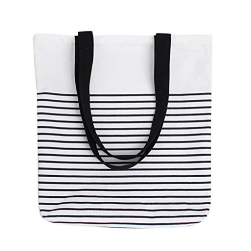 Qotone donne borsa shopping Girls casual a righe busta tela borsa a tracolla studente Bookbag White+Black White+Black