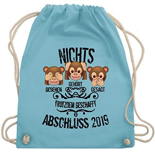 Abi & Abschluss - 3 Affen Emojis ABSCHLUSS 2019 - Unisize - Hellblau - WM110 - Turnbeutel & Gym Bag -