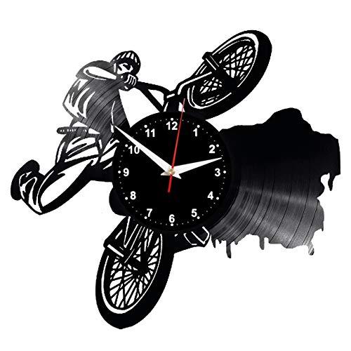 EVEVO BMX Wanduhr Vinyl Schallplatte Retro-Uhr Handgefertigt Vintage-Geschenk Style Raum Home Dekorationen Tolles Geschenk Uhr BMX