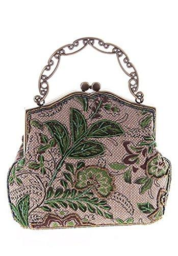 Urbancoco Damen klassisches luxus perlen Clutche Handtasche Abendtasche (grün modell B) (Perlen-geldbörse Muster)