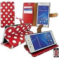 Emartbuy® Sony Xperia M4 Aqua / Xperia M4 Dual Aqua Premium PU Lederetui Tischladestation Geldbörse Tasche Hülle Polka Dots Rot Weiß mit KRotitkartenfächern