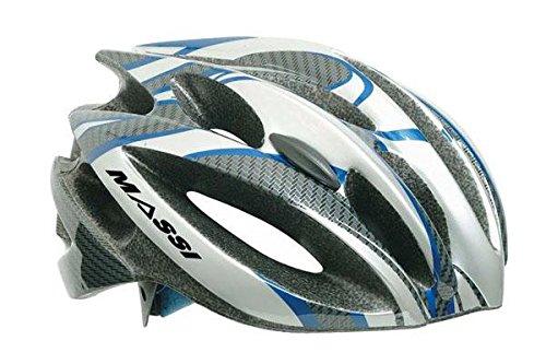 Massi Comp Carbon - Casco para bicicleta unisex, color plateado / azul