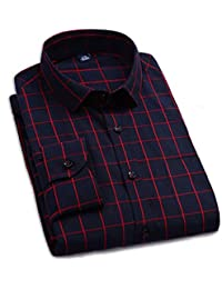 Allthemen Men's Casual Shirt Regular Fit Long Sleeve Plaid Shirt British Stylish Red Small