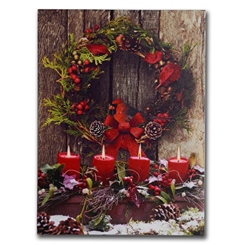 NIKKY HOME Weihnachts Kranz Deko beleuchtet Art Wand Prints LED Leinwand Drucke