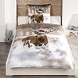 Bettwäsche Weihnachtlich Hirsch 2 teilg 135cm x 200cm von JEMIDI Bettbezug Bettgarnitur Bett Wäsche Betten Decke Überzug Bezug Set Vintage Retro