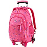 Vbiger Trolley Rucksack Schultaschen Trolley Schulrucksack Kinder Rucksack Rollen für Junge und Mädchens Klasse 3-6 (Rosa2)