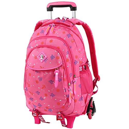 Große Rollen Rucksack (Vbiger Trolley Rucksack Schultaschen Trolley Schulrucksack Kinder Rucksack Rollen für Junge und Mädchens Klasse 3-6 (Rosa2))