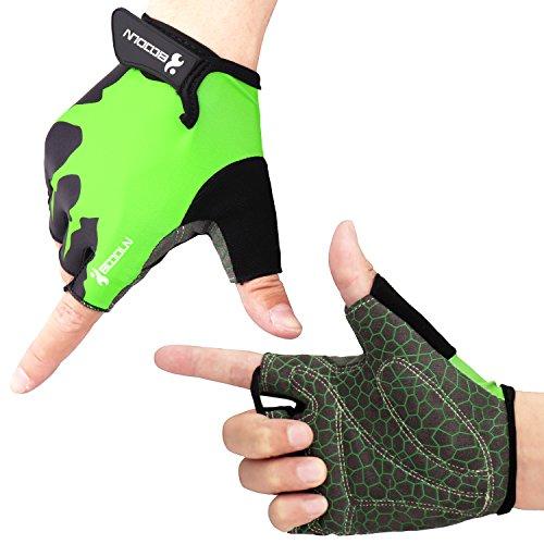 Fahrradhandschuhe Radsporthandschuhe rutschfeste und stoßdämpfende Mountainbike Handschuhe mit Signalfarbe geeiget für Radsport MTB Road Race Downhill Wandern und andere Sports unisex Herren Damen (Grün, M)
