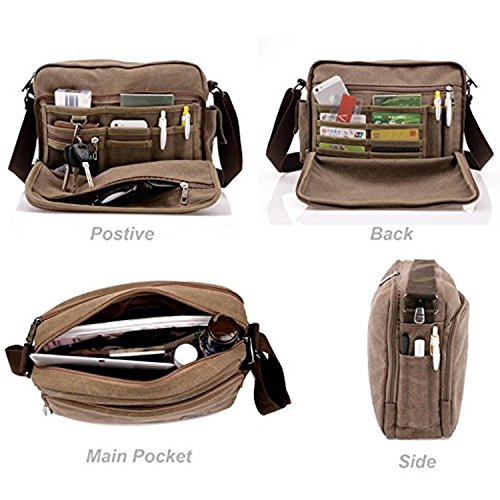 MeCooler Men's Canvas Weekender Messenger Bag for Travel Crossbody Sports Over Shoulder Vintage Military Overnight Casual Cross Body Side Beach Pack Bag (Beige)