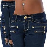 OHQ Jeans Mi-Taille Extensible Pocket Zip Pour Femme Bleu Foncé Femmes Zipper Skinny Pencil Denim Stretch Slim Fitness Pantalons Grossesse Slim Grande Velours Cotelé Jeans (Bleu foncé, XL)