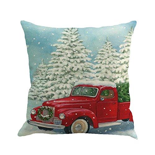 Lucky Mall Weihnachten Printing Färben Sofa Home Decor Kissenbezug, Bedruckter Kissenbezug aus Leinen