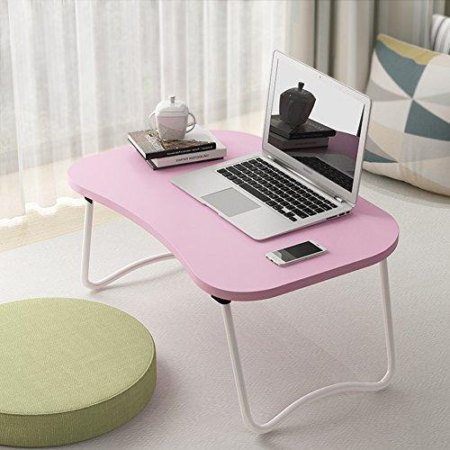 PENGFEI Laptop Betttablett Bett Sofa Tisch Tragbar Faltbar Multifunktion College Studenten Schlafsaal Lernen 3 Farben 60x40x28cm (Farbe : Pink) (Bett College,)