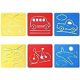 Trixes 6er Set Verschiedene Fahrzeuge Zeichenschablonen für Kinder zum Scrapbooking oder Gruss- und Geburtstagskarten