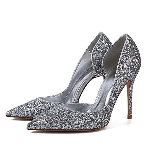 WSS chaussures à talon haut Doré brillant eaux peu profondes de fines femmes chaussures talons chaussures argent 2