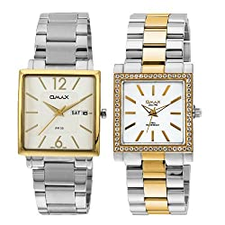 OMAX Analog White Dial Couple Watch - CM009