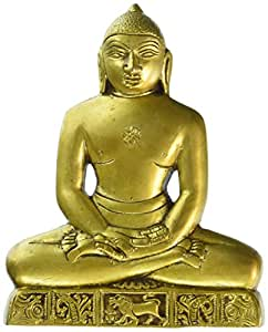 "Redbag - ""Lord Mahaveer Jain Deity"" - Brass Wall Statue (5.50""H x 4.50""W)"