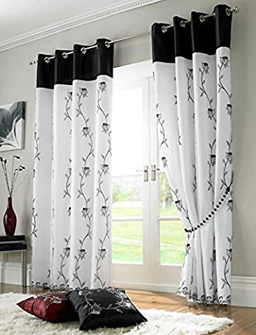 BLACK WHITE FLORAL RING TOP EMBROIDERED FULLY LINED ORGANZA CURTAINS 56