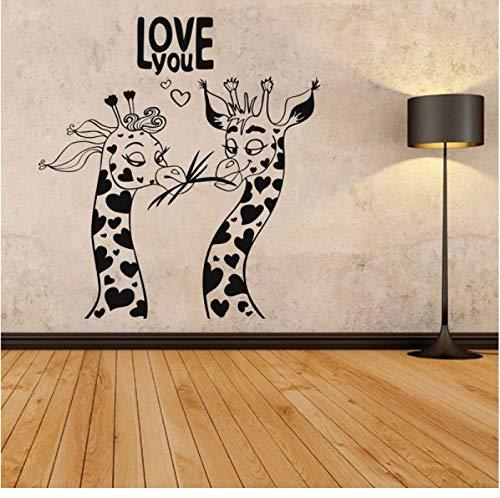 Gwgdjk Liebe Tiermuster Wandaufkleber Liebe Dich Auf Den Ersten Blick Humor Giraffen Wandkunst Dekor Removable Home Decoration