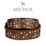 Michur Reiko, Hundehalsband, Lederhalsband, Halsband, Leder, Braun, mit Nieten und Strasssteinen, in Verschiedenen Größen erhältlich
