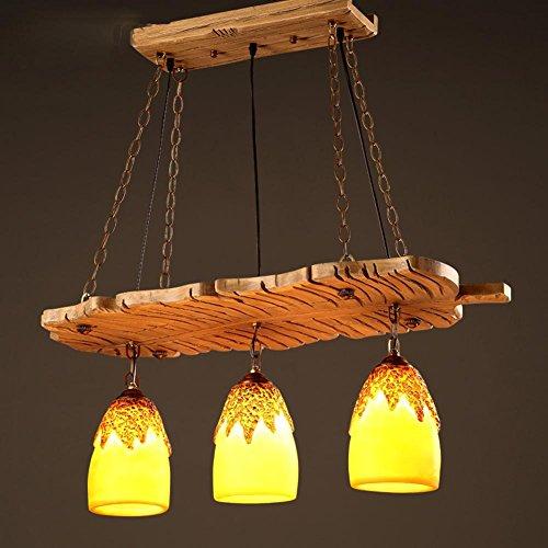 BJVB Lampadari di resina retrò personalità a castello in legno appeso forca di lampada ristorante camera da letto salotto caffetteria . 2