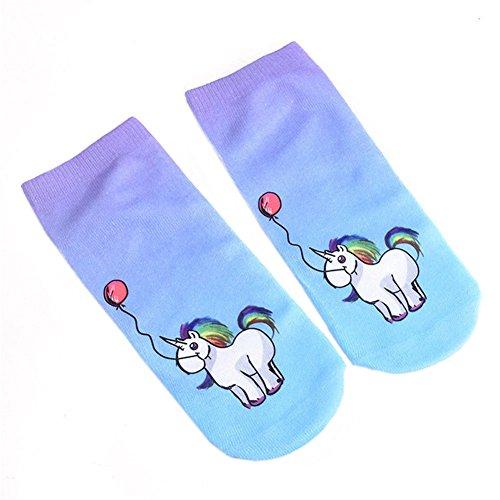 Blue Vessel Frauen Mädchen Mode Casual Low Cut Knöchelsocken 3D Print Nette Einhorn Socken (2#) (Sock Sport Cut Mädchen Low)