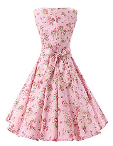 MicBridal® 1950er Vintage Ballkleider Retro Schwingen Pinup Rockabilly Partykleider Cocktailkleider Pink Blumen