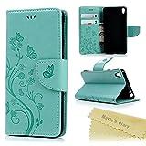 Sony Xperia E5 Coque Mavis's Diary Étui Housse de Protection Étui à Rabat Cuir Portefeuille Clapet Flip Phone Case Cover Swag Fente de Carte Papillon Vert Fermeture Magnétique + Chiffon