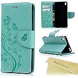 Mavis's Diary Coque Sony Xperia E5 Étui Housse de Protection TPU Phone Case Cover pourSony Xperia E5 Vert Papillon Fleur Imprimé Shell Ultra Mince Souple Flexible+Chiffon