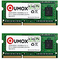 QUMOX RAM 8GB (2 x 4GB) Memoria SO-DIMM DDR3 PC3 1600 4 GB PC3-12800 204pin CL11 para ordenador portátil
