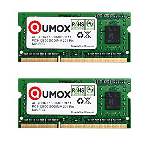 QUMOX 8GB (2x 4GB) 1600 DDR3 4 GB PC3-12800 SO-DIMM PC3 RAM Laptop Memory 204pin (Computer Portatili, 4 Gb Di Ram)